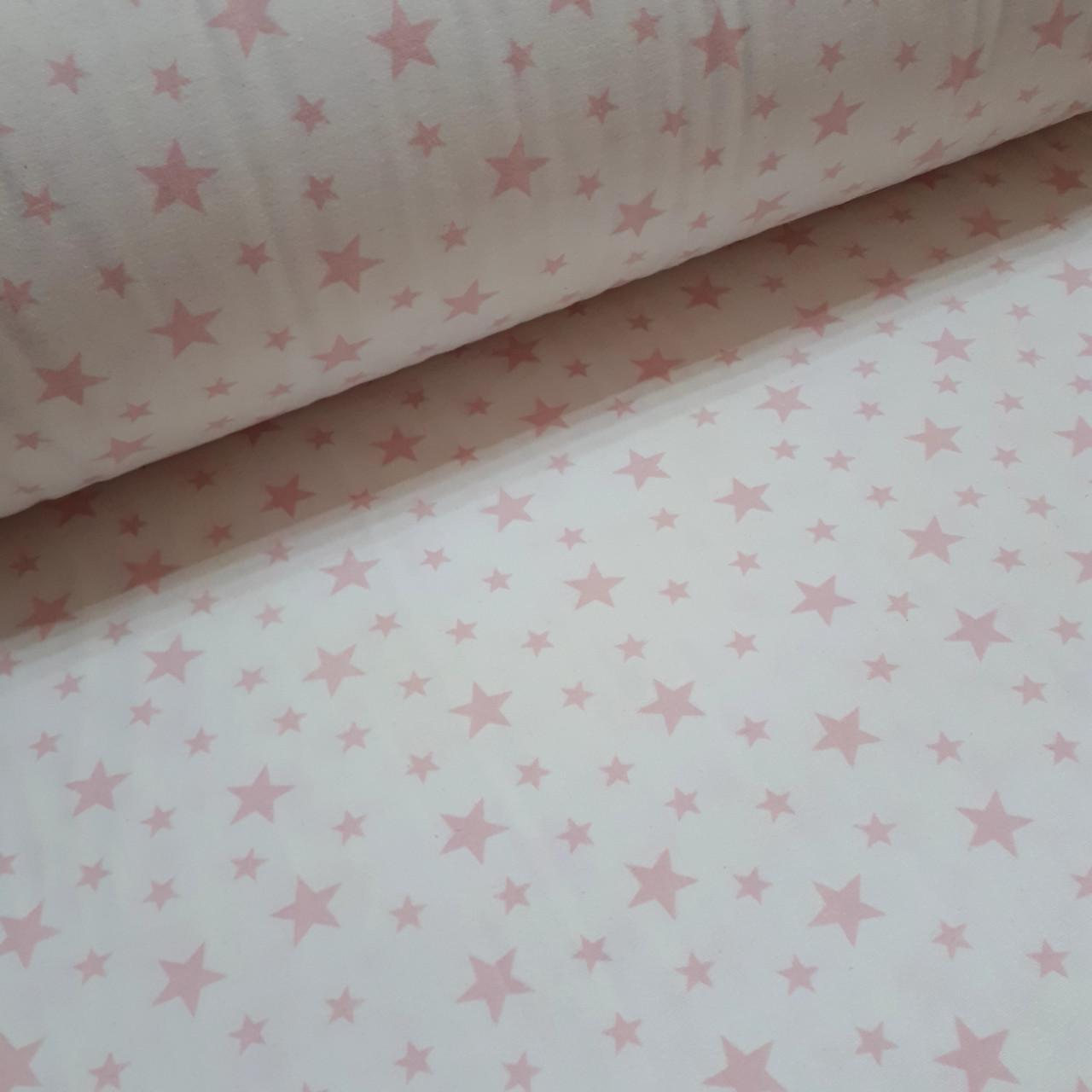 Фланелевая ткань розовые звезды на белом (шир. 2,4 м)