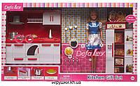 Кукла Defa 8085 с кухонным гарнитуром и холодильником, голубой наряд