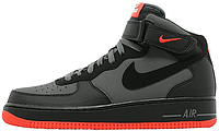 Кроссовки Nike Air Force 1 Mid Dark Grey Red | Найк Аир Форс