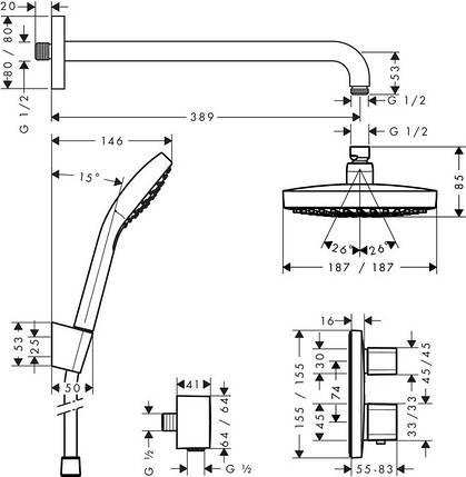 Душевой набор HANSGROHE ShowerSet Croma Select E/Ecostat E, фото 2
