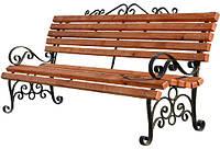 Кованая скамейка для дома с брусом 2м