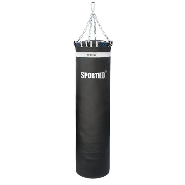 Мешок боксерский Олимпийский Sportko h-150см, ᴓ-35см, вес-55кг, кожа, с цепями, черный