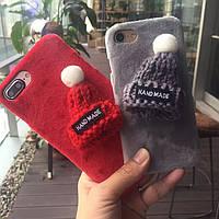 Мягкий бархатный чехол с шапочкой для iPhone (7/8, 7/8+, Х)