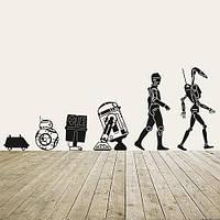 Интерьерная виниловая наклейка Эволюция дроидов Star Wars (Звездные войны, R2D2, 3PO, роботы)