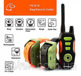 Електронашийник Ipets PET618-2 для 2-х собак. водонепроникний акумуляторний нашийник. 800 метрів