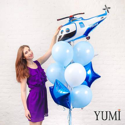 Связка из шара Вертолет полиции, 2 синих и 1 белой звезды, голубого круга, 4 голубых и 4 белых шаров, фото 2