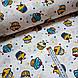 Ткань поплин пирожные желто-бирюзовые на белом (ТУРЦИЯ шир. 2,4 м) №32-61, фото 2