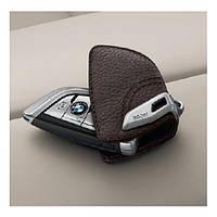 Кожаный футляр BMW для ключей со стальным зажимом, 82292408819. Оригинал. Кофейный цвет., фото 1