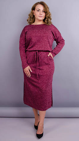 Демисезонное платье для пышных дам. бордовый. большие размеры: 50-64, фото 2