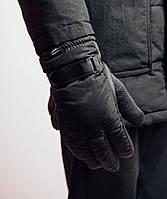 Перчатки мужские Pobedov  зимние теплые оригинал на липучке (черные)