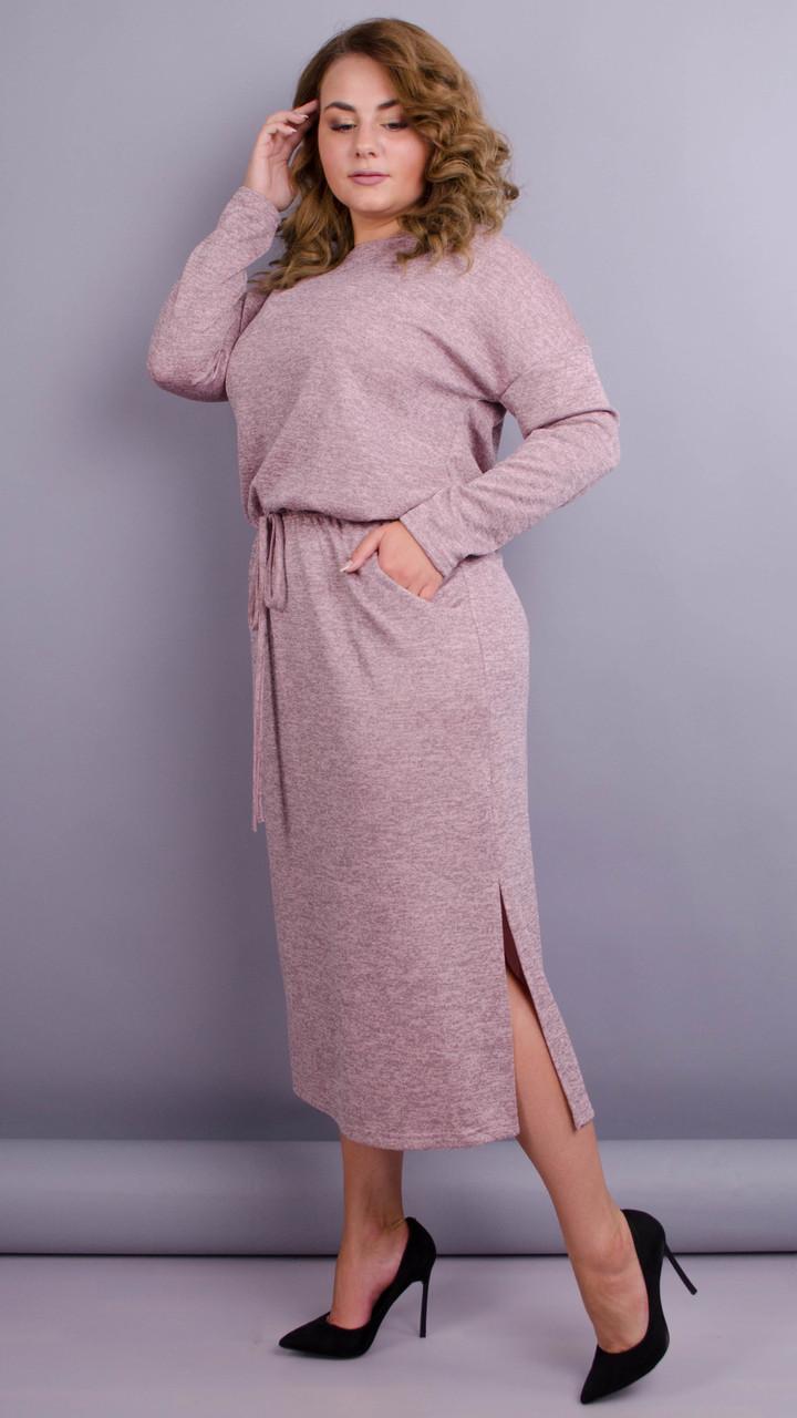 Демісезонне плаття для пишних дам. Пудровий. великі розміри: 52-64