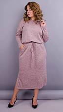Демісезонне плаття для пишних дам. Пудровий. великі розміри: 52-64, фото 3