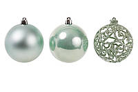 Набор елочных шаров Ажур 8см, цвет - эвкалипт, 3 шт: перламутр, ажур с глитером, матовый, фото 1