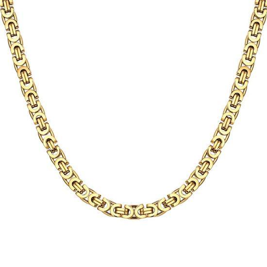 """Модная мужская цепочка на шею """"Steel Rage Gold"""" византийское плетение лисий хвост медицинская сталь"""
