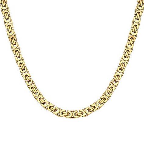"""Модна чоловіча ланцюжок на шию """"Steel Rage Gold"""" візантійське плетіння лисячий хвіст медична сталь, фото 2"""