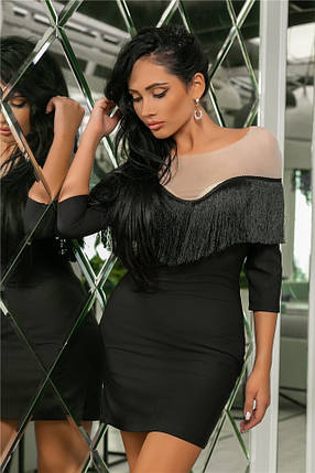 Женское Платье, цвет Чёрный (141)719.Ткань: креп + сетка + бахрома. Размеры: 44, 46, 48, 50., фото 2