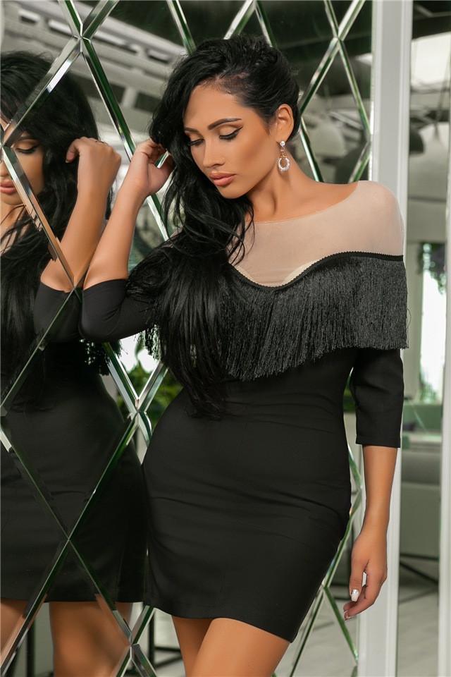 Женское Платье, цвет Чёрный (141)719.Ткань: креп + сетка + бахрома. Размеры: 44, 46, 48, 50.