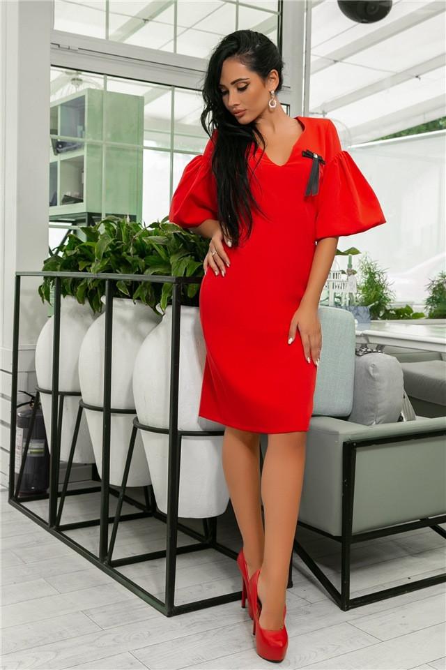 Женское Платье, цвет - Красный (141)706-2. (5 цветов), Ткань: креп + бантик. Размеры: 44, 46, 48, 50.