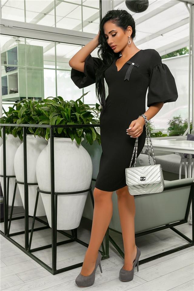 Женское Платье, цвет - Чёрный (141)706-3. (5 цветов), Ткань: креп + бантик. Размеры: 44, 46, 48, 50.