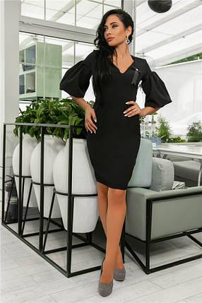 Женское Платье, цвет - Чёрный (141)706-3. (5 цветов), Ткань: креп + бантик. Размеры: 44, 46, 48, 50., фото 2