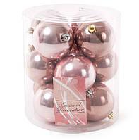 Набор елочных шаров 8см, микс цветов - розового и медно-коричневого, 12 шт: перламутр по 6 шт в цвете, фото 1
