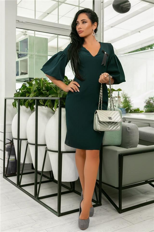 Женское Платье, цвет - Изумруд (141)706-4. (5 цветов), Ткань: креп + бантик. Размеры: 44, 46, 48, 50.