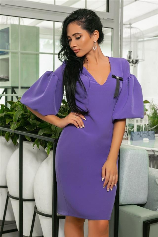 Женское Платье, цвет - Лаванда (141)706-5. (5 цветов), Ткань: креп + бантик. Размеры: 44, 46, 48, 50.