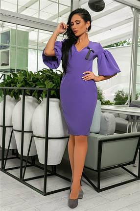 Женское Платье, цвет - Лаванда (141)706-5. (5 цветов), Ткань: креп + бантик. Размеры: 44, 46, 48, 50., фото 2