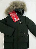 """Модная детская зимняя куртка  на мальчика  """" Пульс"""" р.104-128 хаки"""