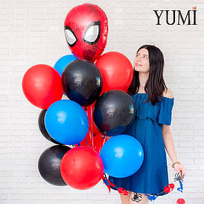 Связка из фол. фигуры голова Спайдермена, 4 синих, 4 красных и 4 черных шаров с гирляндой Cпайдермен/паук, фото 2