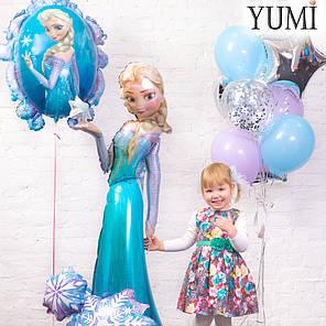 Композиция Холодное сердце: шар Зеркало, Эльза и связка: 4 звезды, 2 голубых, 2 сиреневых шара и 2 с конфетти, фото 2