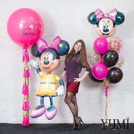 Композиция Disney: Фигура Минни, связка из 12 шаров с головой Минни и шар-гигант фуксия с надписью и тасселом, фото 2