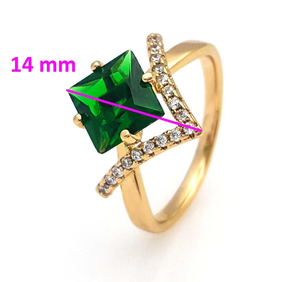 Кольцо Квадрат, с зеленым цирконием,   р.19,5, позолота