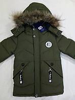 """Модная детская зимняя куртка  на мальчика  """" B"""" р.98-122 хаки"""