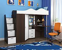Кровать чердак с рабочей зоной и шкафом, фото 1