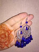 Серьги восточные из Чешского Хрусталя, цвет синий Код: S - 0234