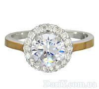 """Женское серебряное кольцо с золотыми пластинами """"Магия света"""""""