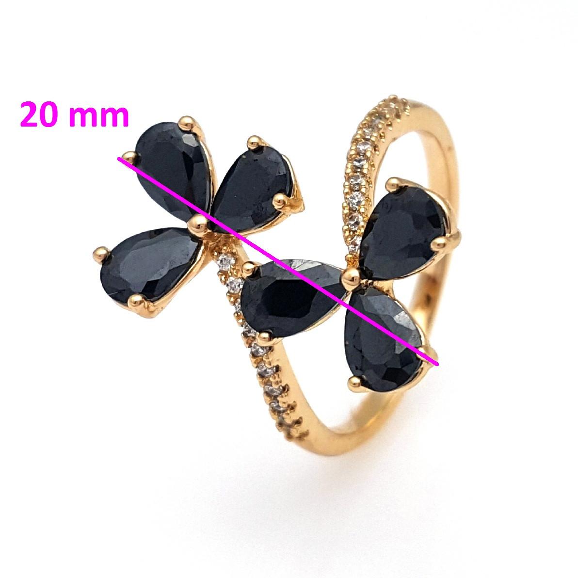 Кольцо Два Цветка, с черным цирконием, р. 16,5, р.18, позолота