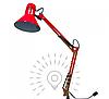 Лампа настольная на струбцыне E27 LMN093 красная