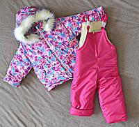 Детский зимний комбинезон для девочек от 1 до 4 лет на овчине