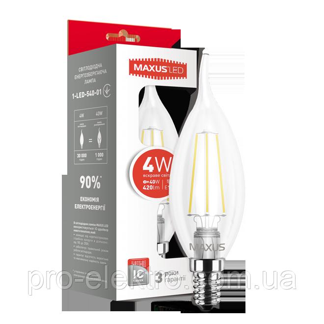 LED-лампа MAXUS (filam), C37 TL, 4W, яркий свет, E14 (1-LED-540-01)