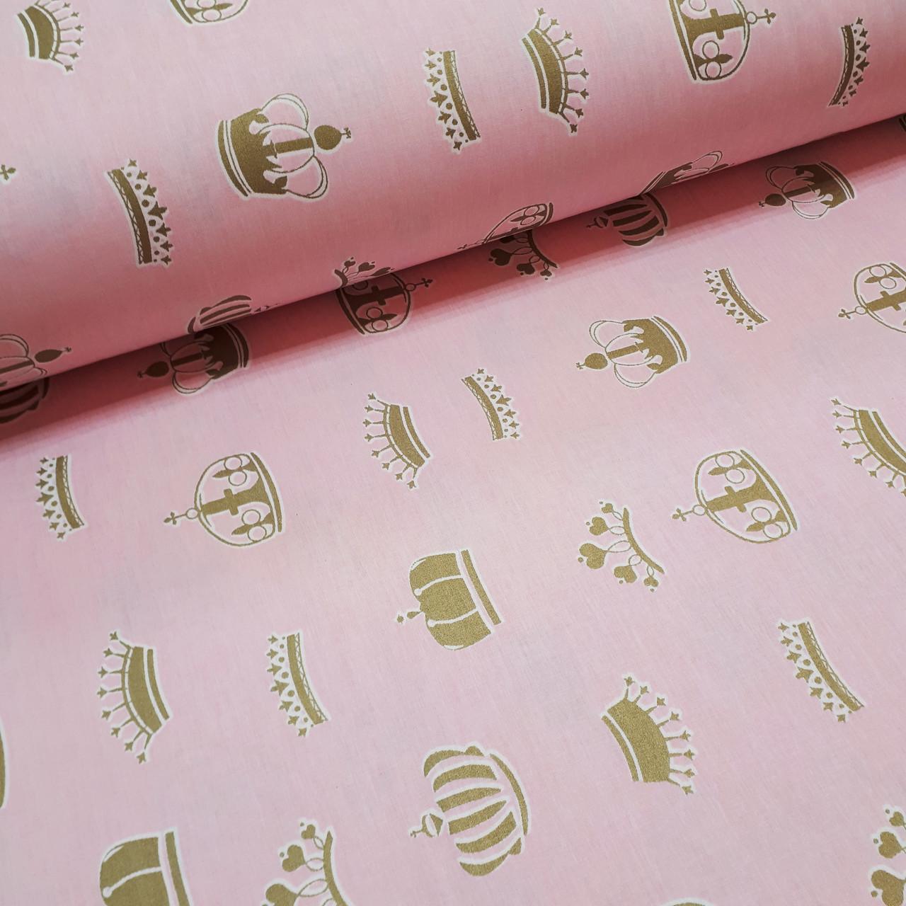 Ткань поплин короны золотистые (глиттер) на розовом (ТУРЦИЯ шир. 2,4 м) №32-62