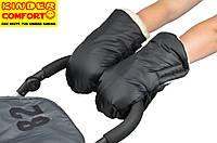 Муфта-рукавицы на овчине для коляски (чёрная)
