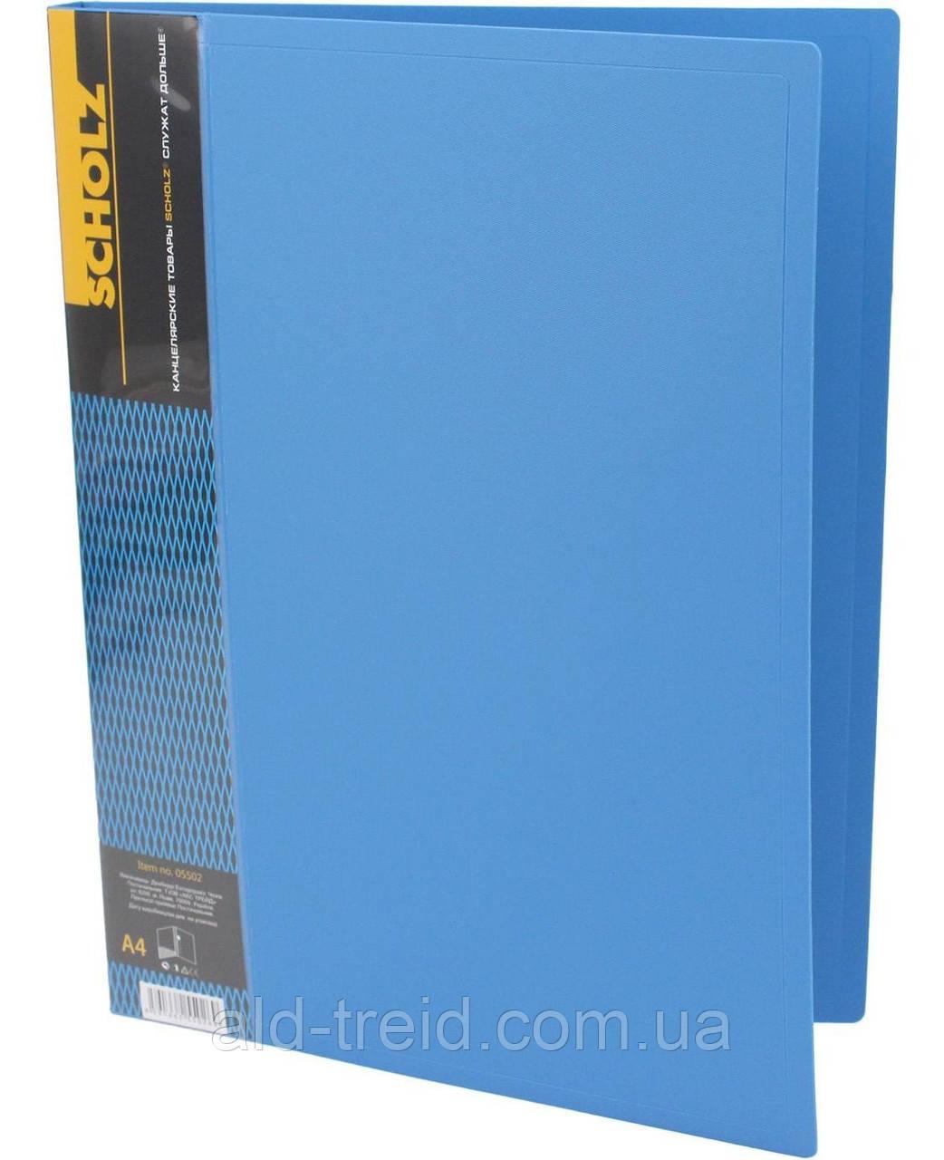 Папка сдлинным боковым прижимом А4+карман Scholz 05502