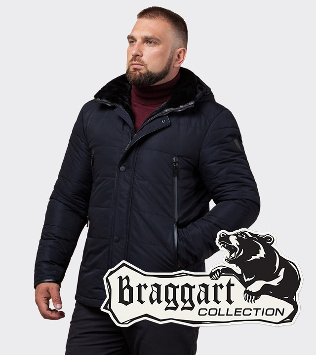 Braggart Status TCX1009 | Куртка с воротником на меху темно-синяя
