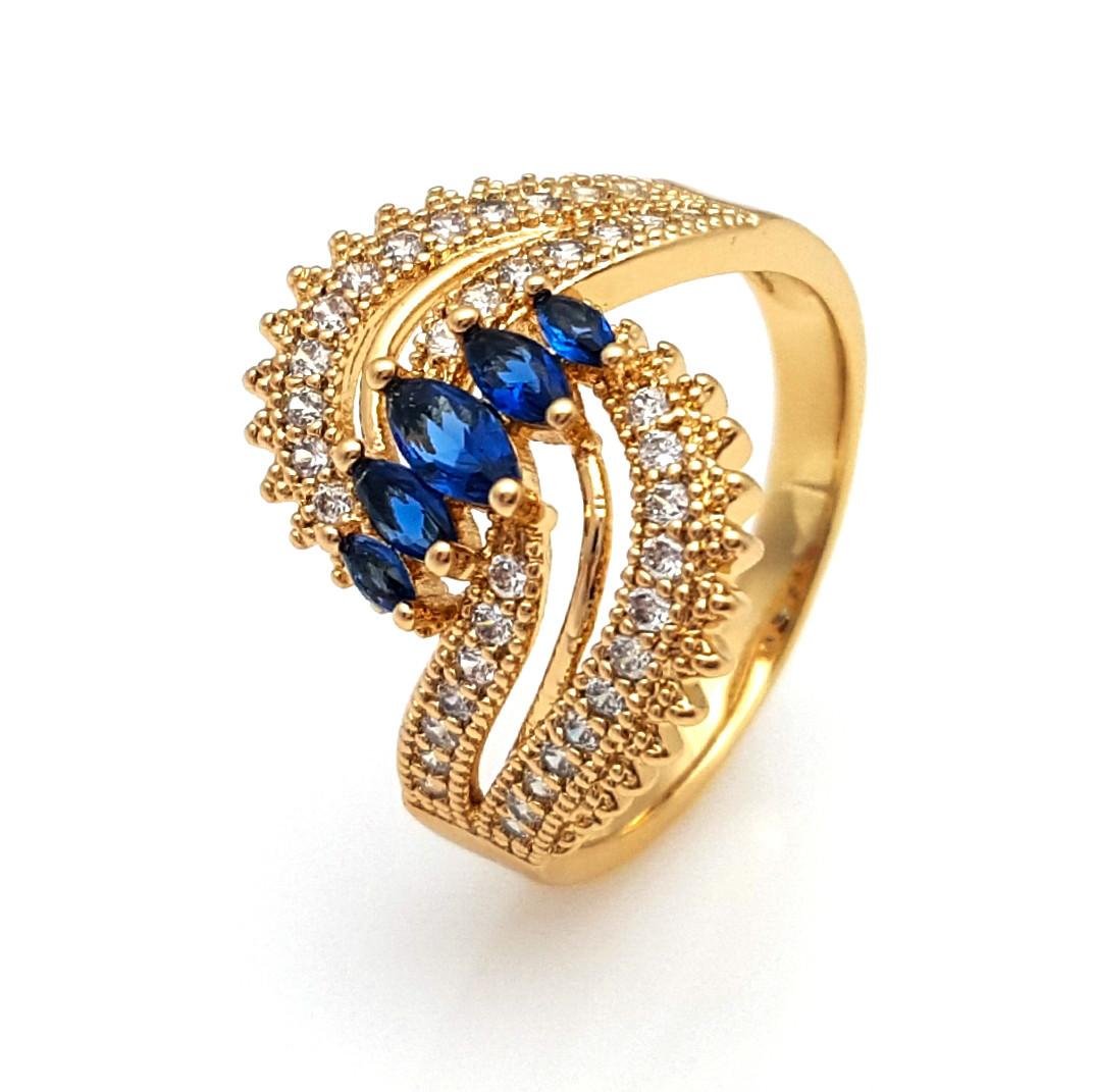 Кольцо Волна, с синим цирконием, р.17,  позолота