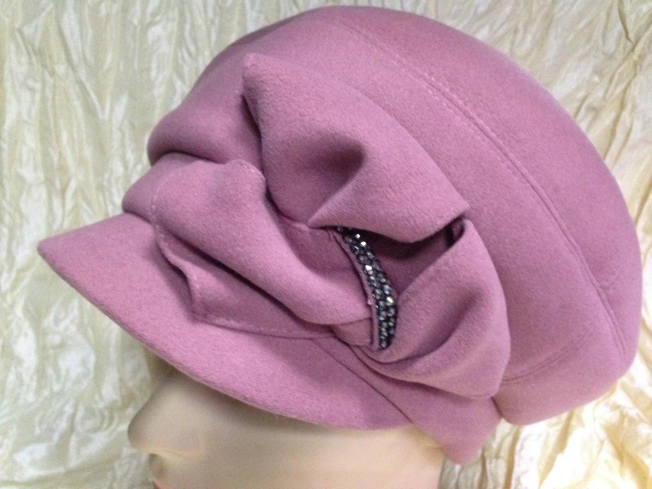 Ексклюзивна жіноча кашемірова кепка рожевий колір карамель