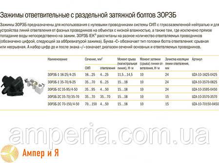 Зажим ответвительный с раздельной затяжкой болтов ЗОРЗБ-1 16-25/4-25 IEK, фото 2