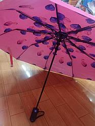 Зонт п/а, двойной, листочки,цветы.