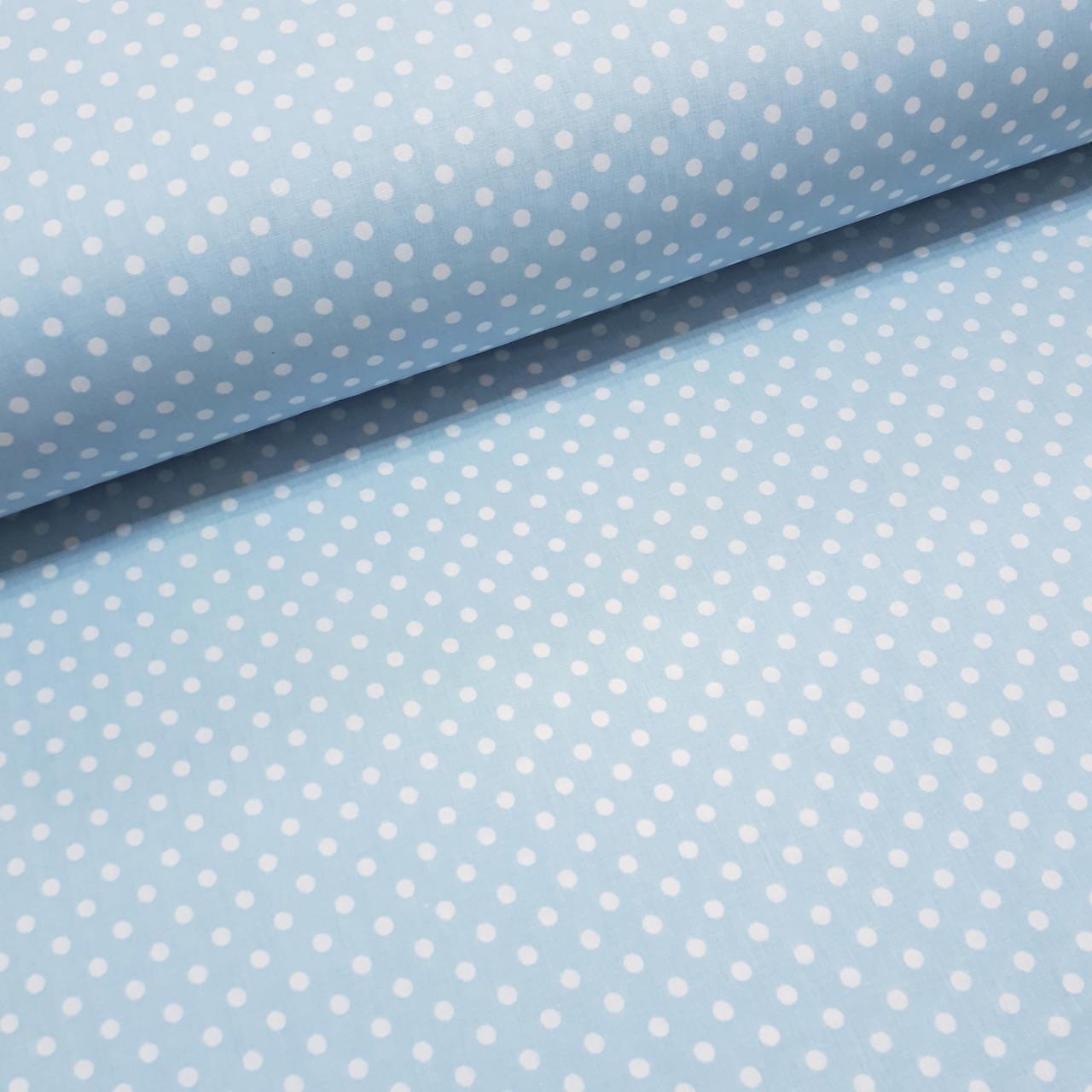 Ткань поплин белый горошек на голубом 6мм(ТУРЦИЯ шир. 2,4 м) №32-65